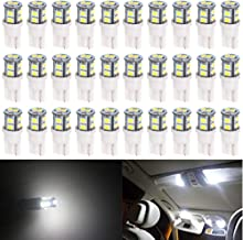 AMAZENAR 30-Pack T10 194 168 2825 175 W5W White Extremely Bright 10-SMD 2835 LED Light 12V Car Replacement Bulb for Map Dome Courtesy Side Marker License Plate Light