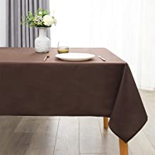 SINSSOWL Rectangle Table Cover Protector - 58 x 84 Inch - Brown Tablecloth Waterproof , Easy to Clean, Desk Cloth for Picn...
