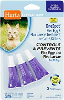 Hartz UltraGuard OneSpot Flea Egg and Larvae Treatment, Cats and Kittens, 0.03 oz, Pack of 3