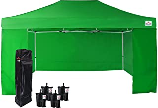 UNIQUECANOPY 10'x15' Ez Pop Up Canopy Tent Commercial Instant Shelter, with 4 Removable Zippered Side Walls and Heavy Duty Roller Bag, 4 Sand Bags Green
