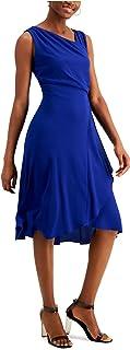 KENSIE Womens Blue Sleeveless Asymmetrical Neckline Midi Wrap Dress AU Size:10
