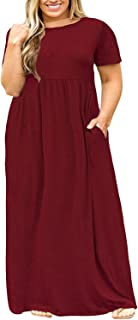 ae2599f0389 Shele Womens Plus Size Dresses Loose Plain Pockets Long Sleeve Maxi T-shirt  Dress