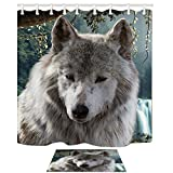 KOTOM Animal Decor Cub Lobo en Mounatin Modern Artsy Animal Print Cortinas de Ducha Conjunto...