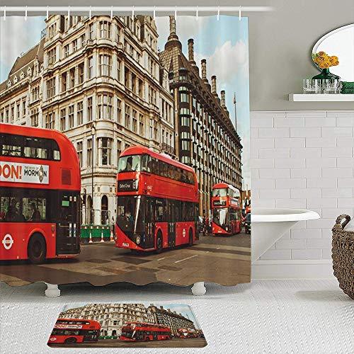 KISSENSU Cortinas con Ganchos,Edificio gótico Busy Street Red Double Decker Bus,Cortina de Ducha Alfombra de baño Bañera Accesorios Baño Moderno