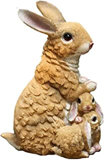 Rabbit Garden Animal Statue - Best Indoor Outdoor Sculpture Ornaments Yard Art Figurines for Patio Lawn House - Features Mama & Baby -11.8 Inch