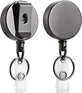 """2 Pack Heavy Duty Retractable Badge Holder Reel, Will Well Metal ID Badge Holder with Belt Clip Key Ring for Name Card Keychain [All Metal Casing, 27.5"""" Steel Wire Cord, Reinforced Id Strap]"""