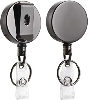 "2 Pack Heavy Duty Retractable Badge Holder Reel, Will Well Metal ID Badge Holder with Belt Clip Key Ring for Name Card Keychain [All Metal Casing, 27.5"" Steel Wire Cord, Reinforced Id Strap]"