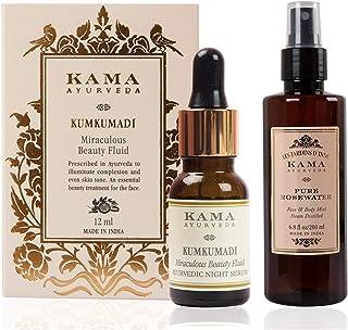 Kama Ayurveda Kumkumadi Miraculous Beauty Ayurvedic Night Serum, 12ml & Kama Ayurveda Pure Rose Water Face and Body Mist, ...