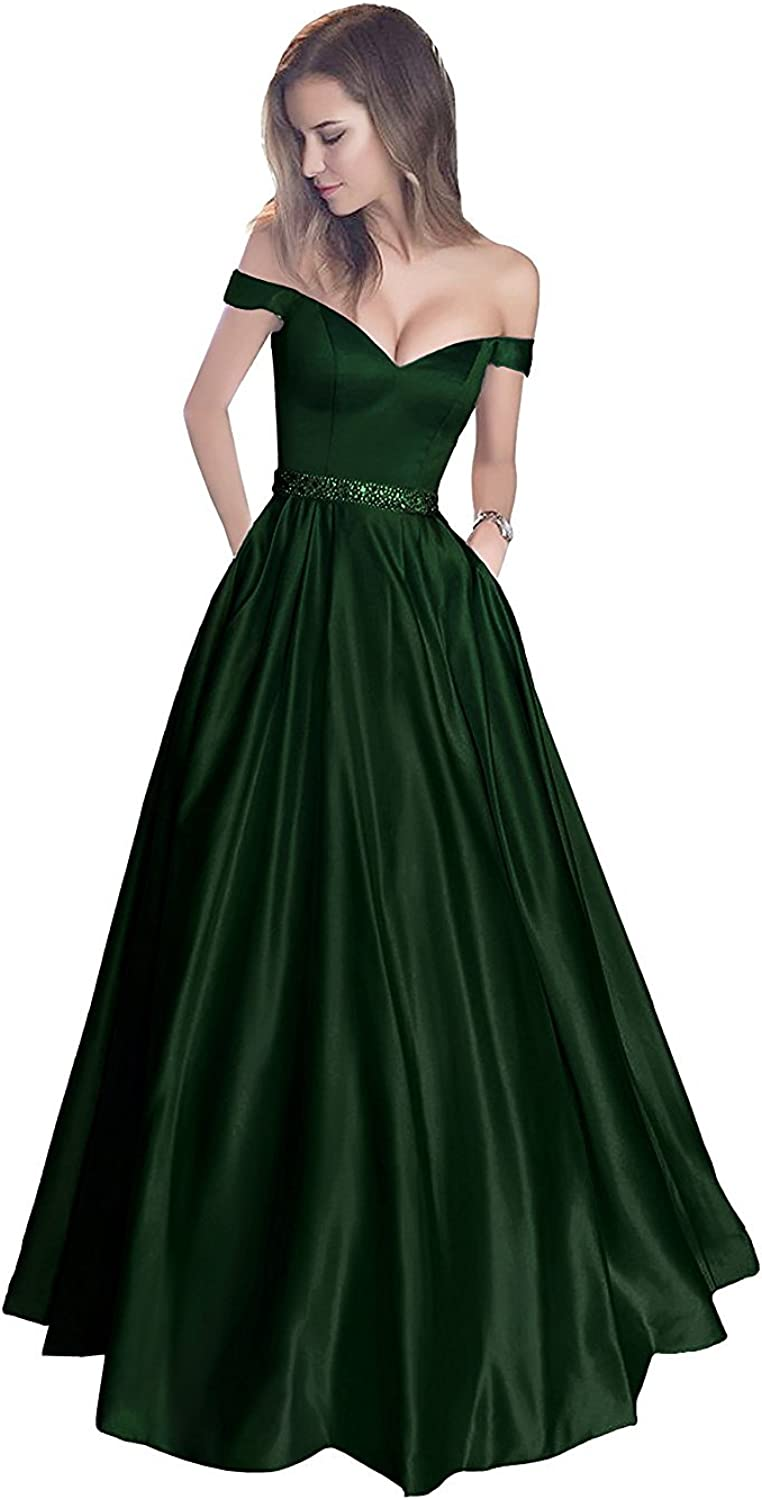 Beilite Cap Sleeves Satin A Line Evening Dress with Pocket