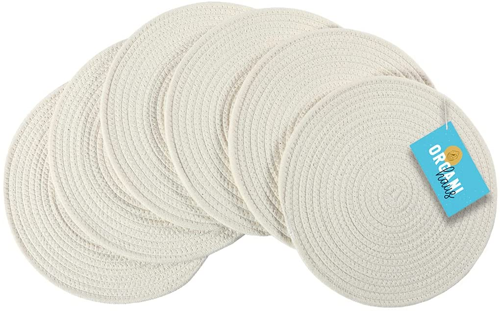 OrganiHaus Cotton Rope Woven Round Super sale Set Placemats overseas of