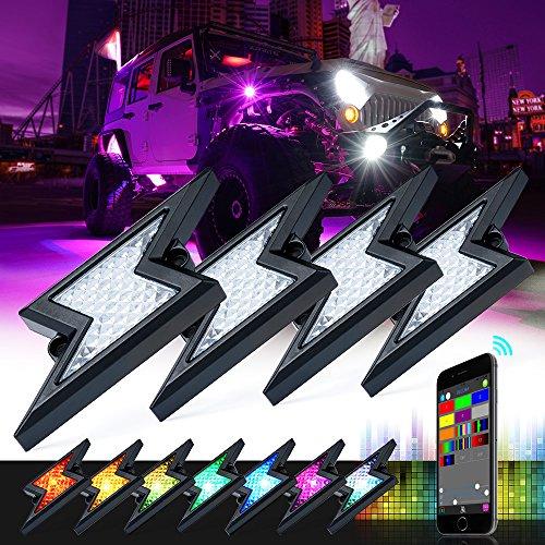 Xprite 8 Pods RGB LED Rock Lights w//Bluetooth Outdoor Multicolor Lightning Kit,for Jeep Wrangler Off-road 5th-GEN Z-FORCE Rock Light Waterproof Patent Pending Design