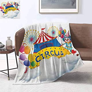 smllmoonDecor Circus Custom Design Cozy Flannel Blanket Illustration of a Circus Above The Clouds Fireworks Entertainer Comedian Show Print Oversized Travel Throw Cover Blanket 62