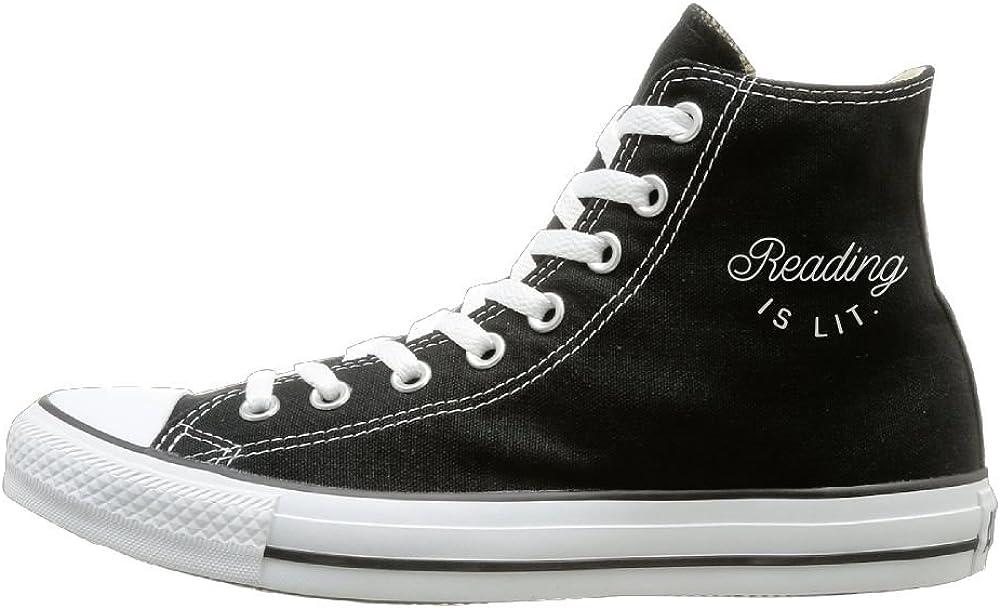 Shenigon Reading Is Lit Canvas Shoes High Top Sport Black Sneakers Unisex Style
