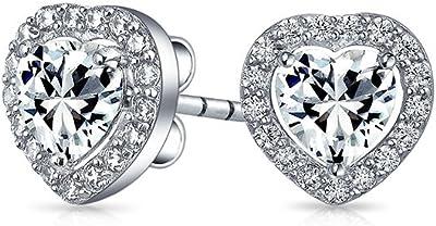 Orecchini cubici a forma di cuore Zirconia Halo Lunetta Set CZ Per le donne per la ragazza 925 Sterling Silver