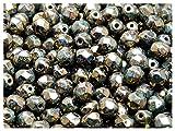 50 Stück Tschechische Facettierten Glasperlen Fire-Polished Rund 6 mm, Turquoise Green Sprayed Gold