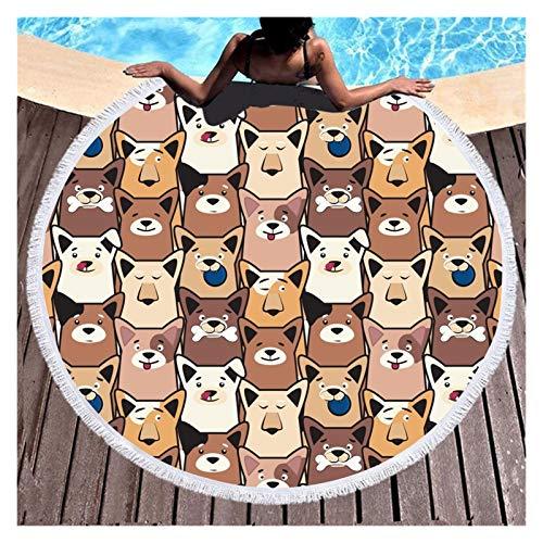 Popular Lindo perro Firebird animal Impresión de animales Toalla de baño Circular Microfibra Multiuso Secado rápido Absorbente Toallas de playa para toalla de viaje Beach Travel Yoga