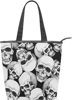 Mnsruu Große Segeltuch-Handtasche, Strandtasche, Reisetasche, Einkaufstasche, Schultertasche, graue Totenköpfe, Sommerurlaub, Handtasche für Damen und Mädchen