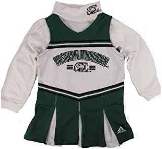 adidas Eastern Michigan Eagles Little Girl's 2pc Turtleneck Cheerleader Jumper Dress