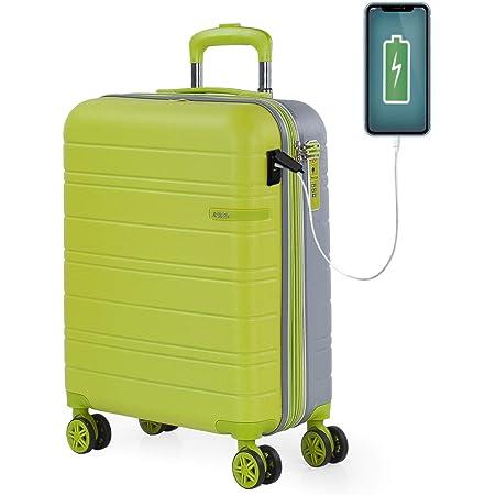 JASLEN - Maleta Cabina Avion Pequeña con 4 Ruedas 55x40x20 Extensible Hombre Mujer Rígida [Conector para Carga USB] Trolley Equipaje de Mano Candado con Seguridad TSA 171250, Color Pistacho-Plata
