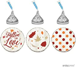 Andaz Press Chocolate Drop Labels Trio, Wedding Bridal Shower, Autumn Fall Fallin' in Love, 216-Pack