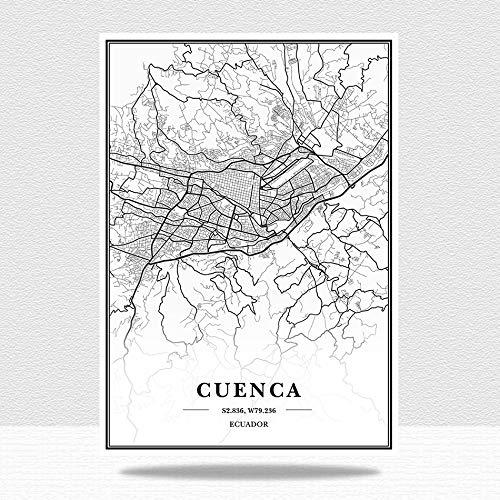 Ecuador Cuenca Mapa De La Ciudad Impresión De Lienzo,Verticales Blanco Y Negro Pared Arte Pintura Lienzos Decorativos Adecuado Para Cuadros Dormitorios,Cuadros Decoracion Salon Modernos,60X80Cm/23.6