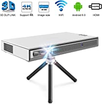 TOUMEI T5 Mini Projector Portable, 200 ANSI Lumens Pico Projector, Android DLP Projector Home Cinema, Support 1080P 4K HDMI 3D DLP-Link, Compatible with Fire TV Stick/PS3/PS4/Amazon Video -Silver