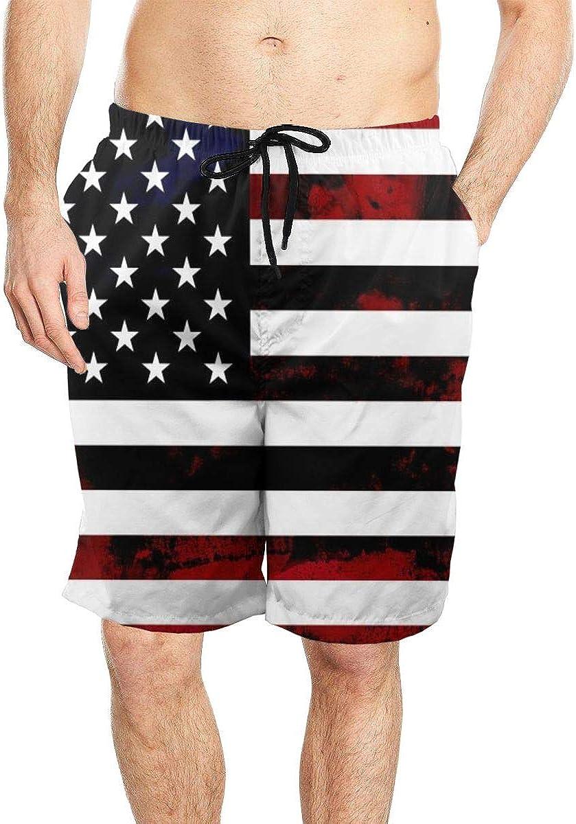 DASMUS Grunge American Flag Mens Drawstring Beach Board Shorts Swim Trunks with Mesh Lining