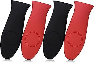 SKEMIX 4 Packs Silicone Hot Handle Holder Kitchen Heat Resistant Fry Pan Milk Pot Sleeve Grip Handle Cover Potholder for C...