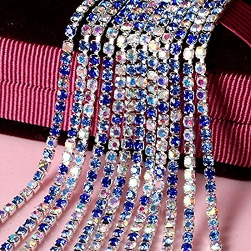 DDTblue 1Meter 2 NEW before selling ☆ At the price 2.5 2.8 3mm Rhinestone Silver Crystal Bas Chain