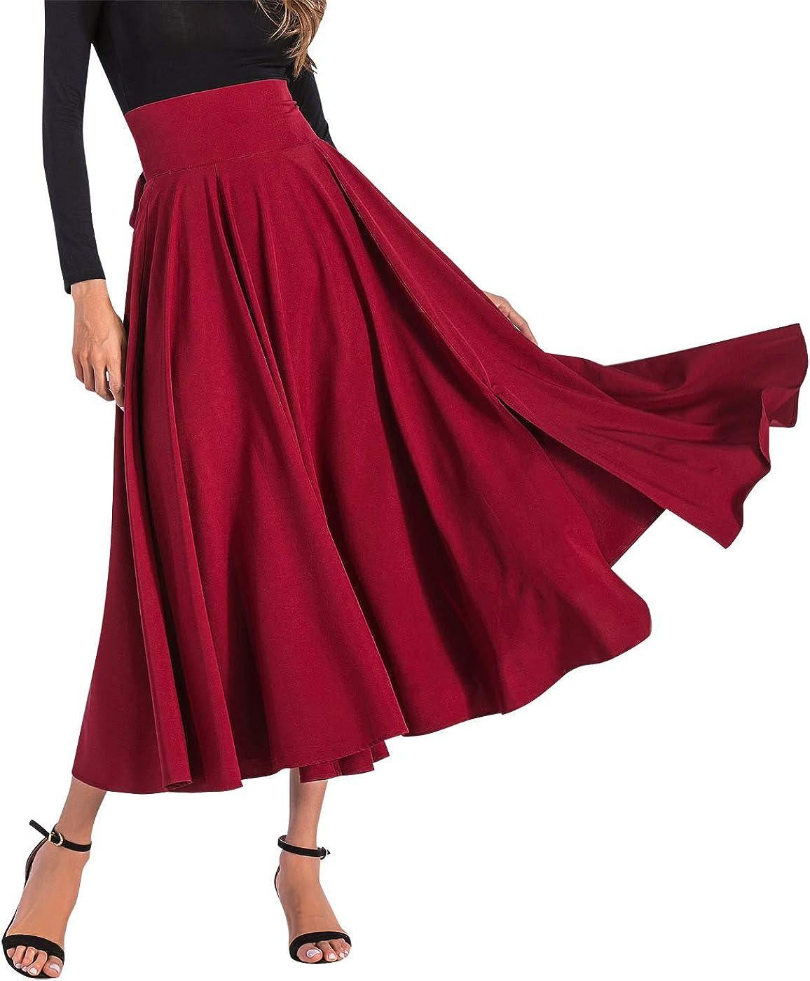 Aivtalk Women High Waist Long Skirt with Slit Pockets Bow Tie Pleated Maxi Skirt