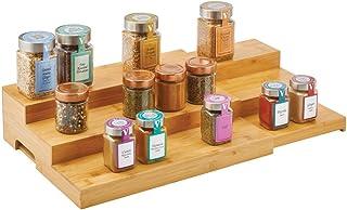 mDesign présentoir à épices extensible pour placard de cuisine – étagère à épices en bambou pour la cuisine, extensible en...