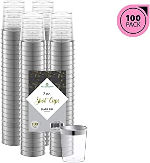 Elite Selection Silver Rimmed Shot Glasses | 2 Oz. Clear Plastic Disposable Cups with Silver Rim | Perfect Party Shot Cups for Shots, Tasting, Sauce, Dips | Pack of 100