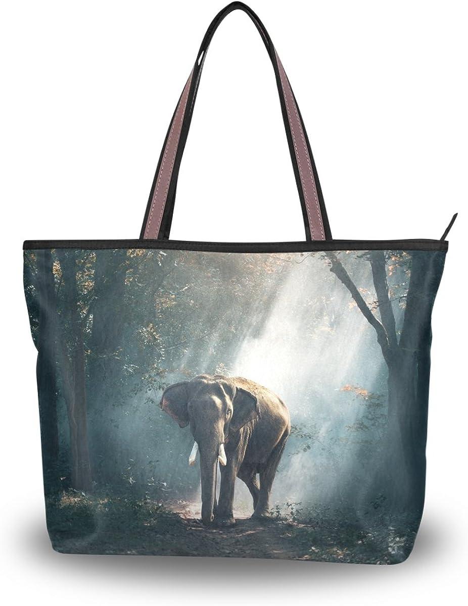 JSTEL Women Large Tote Top Handle Shoulder Bags Forest Of Elephants Patern Ladies Handbag L