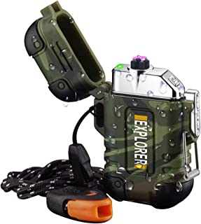 Waterproof Lighter,Rechargeable Plasma Lighter Outdoor Windproof Electric Lighter with Paratinder Lanyard Necklace and Emergency Whistle for Camping Hiking Survival