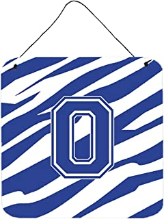 """Caroline's Treasures Letter O Initial Tiger Stripe Blue and White Wall or Door Hanging Prints, 6 x 6"""", Multicolor"""