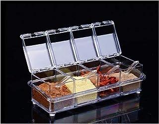 Epices Pots Rangement 4pcs / lot Cuisine Organisateur Boîtes de rangement Espices Assaisonnier Jar Transparent Sugar Boute...