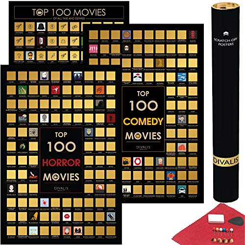 3 in 1 Gift Set - Top 100 Scratch off Movies, Horrors and Comedy Posters Bundle - Best Movies to...