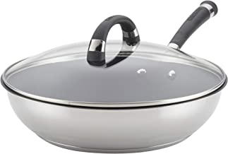 Circulon Espree Stainless Steel Nonstick Deep Fry Pan/Skillet with Lid, 12.5 Inch, Silver