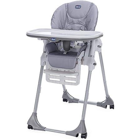Chicco Polly Easy - Seggiolone per neonato, 4 ruote, regolabile, pratico e compatto, grigio