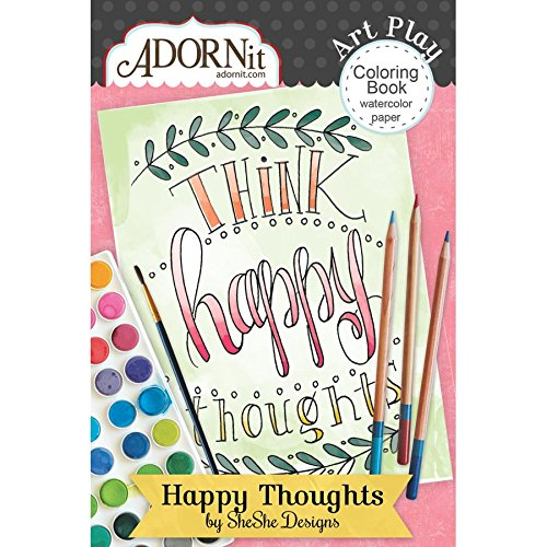 ADORNit Happy Thoughts Mini Coloring Book