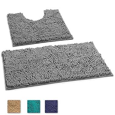LuxUrux 2 Piece Bath Mat Set –Extra-Soft Plush Non-Slip Bath Shower Bathroom Rug + U-Shaped Toilet Mat. 1'' Microfiber Material., TPR Surface, Super Absorbent. Machine Wash & Dry (DARK GRAY)