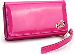 Kroo Women's Clutch Wristlet with Leather Chain Smartphone Case Holder Up to 5 Inch Pink SUNIWXM2-6444
