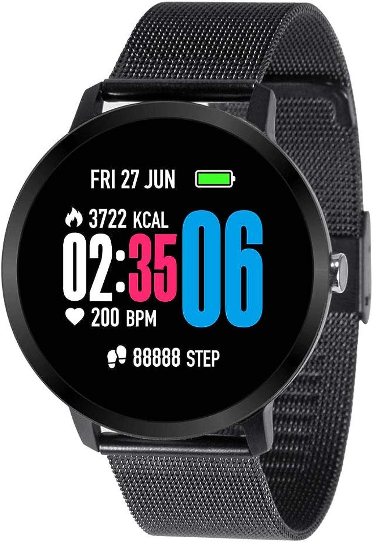 NBPM Smart Watch Wasserdicht Gehrtetes Glas Aktivitt Fitness Tracker Pulsmesser Krempe Mnner Frauen SmartwatchMetal Schwarz
