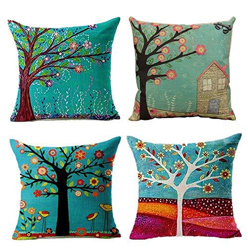 Juego de 4 Fundas de cojín de Lino de algodón – Árbol de la Vida Decorativo de 45 x 45 cm, hogar, Oficina, sofá, Cama