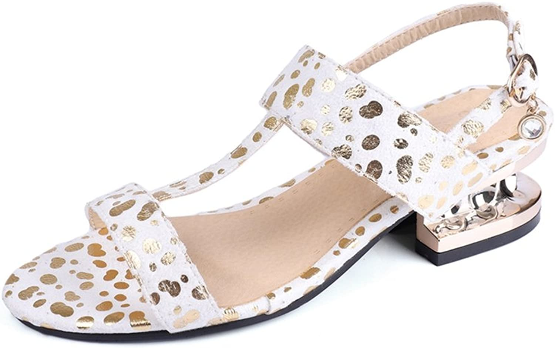 GIY Women's Glitter T-Strap Platform Leopard Heel Sandals Open Toe Sparkly Heel Slingback Dress Pump
