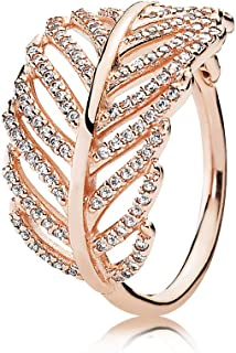 Pandora Women's Rose ring with micro bead-set cubic zirconia Ring 7.5-8 US - 180886CZ-56