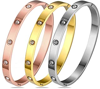 Gold Plated Bangle Bracelets for Teen Girls Jewelry, Stainless Steel Love Bracelets with Cubic Zirconia/CZ for Women Valen...