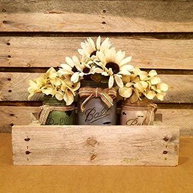 Antique Finish Mason Jars in Primitive Pallet Box, Rustic Mason Jar Centerpiece, Shabby Mason Jar Table Decor, Housewarming Gift