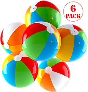 Inflatable Beach Balls Jumbo 24 inch for The Pool, Beach, Summer Parties, and Gifts | 6 Pack Blow up Rainbow Color Beach Ball (6 Balls)