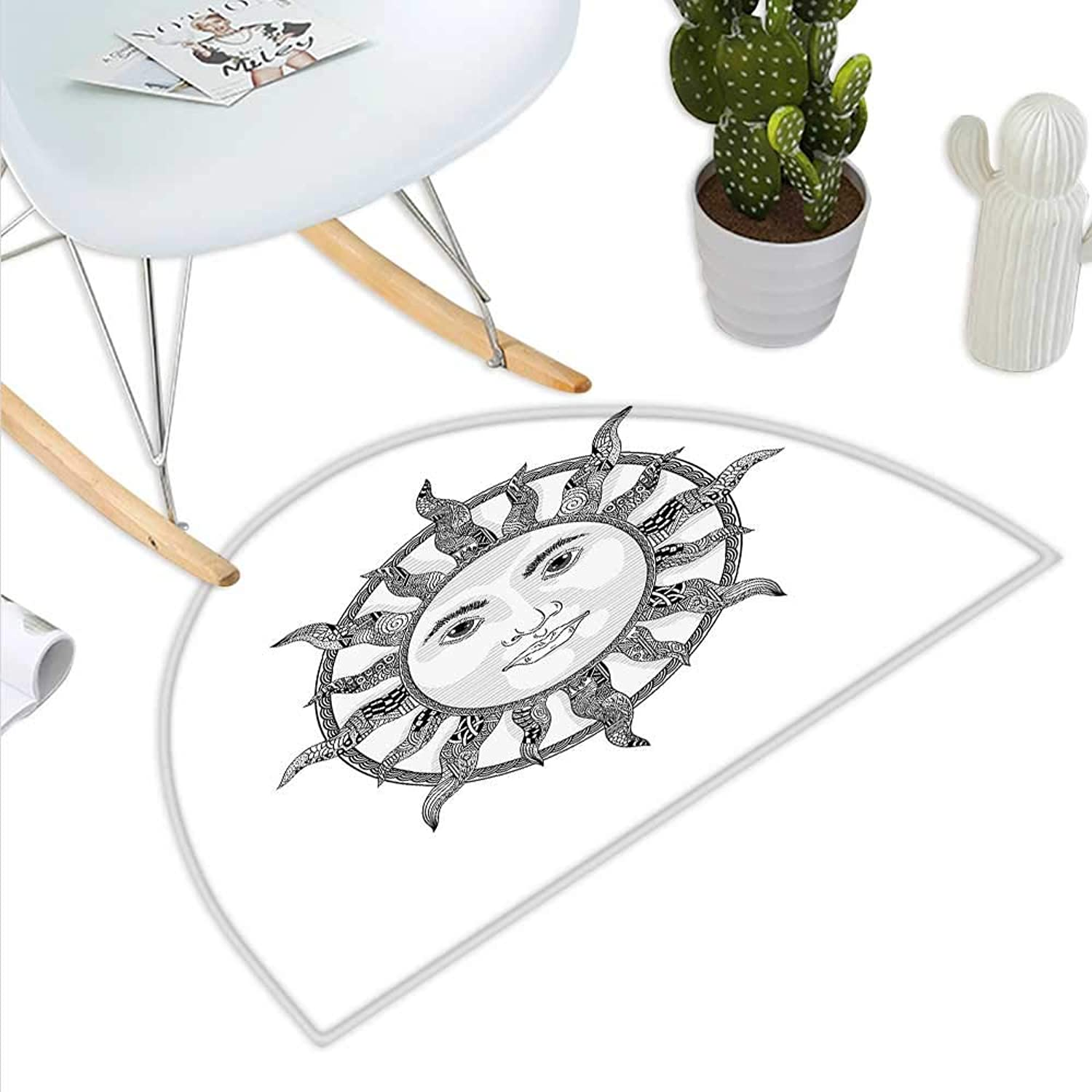 Sun Semicircle Doormat Monochrome Ornamental Zentangle Heavenly Body with Human Face Design Ethnic Pattern Halfmoon doormats H 35.4  xD 53.1  Black White